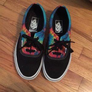 Vans Shoes - Worn once rainbow tie dye & black vans